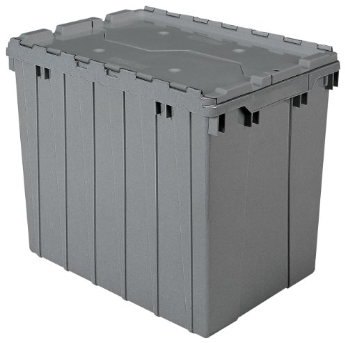 Akro-Mils 39170 Plastic Storage and Distribution Container Tote with Hinged Lid, 21.5-Inch L by 15-Inch W by 17-Inch H, Grey, Pack of 3 (Plastic Storage Containers Akro compare prices)