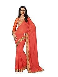 Subhash Sarees Daily Wear Salmon Color Chiffon Saree Sari Sarees