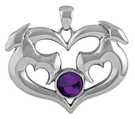 Dragon Heart Pendant with Amethyst - Stainless Steel - 1.15'' Height