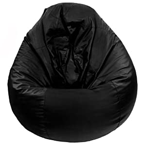 Faux Leather Black Classic Large Pear Gaming Seat Bean Bag COVER ONLY