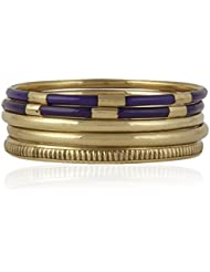 Trendy Baubles Set Of 5: Purple & Gold Bangles