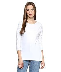 Hypernation White Color Round Neck Cotton T-shirt
