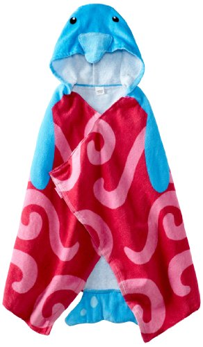 Stephen Joseph Little Girls' Hooded Towel, Dolphin, One Size front-1032570