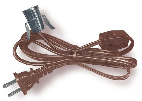 Lamp Cord Has Clip-In Candelabra Socket, Rotary Switch And Molded End Plug. 6 Ft. Brown (Pkg/5)