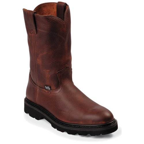 "Men's Justin 10"" Premium Leather Pull - on Boots, Dark Brown, 10.5"