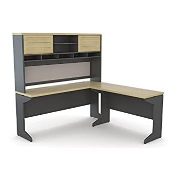 Altra Pursuit L-Shaped Desk with Hutch Bundle, Natural/Gray