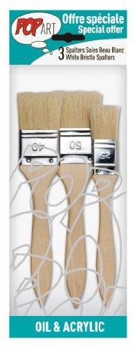 Pébéo 950450 - Pennello con setole di cinghiale, impugnatura lunga, confezione da 3 pezzi, bianco