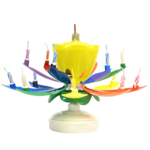 Rainbow Yellow Bud Musical Flower Birthday Candles