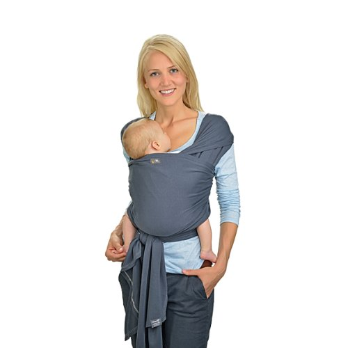 HOPPEDIZ elastisches Tragetuch für Früh- und Neugeborene, inkl. Trageanleitung, 4,60m x 0,50m, Anthrazit