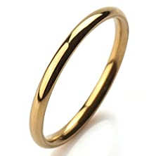buy Bishilin Men Womens 2Mm Promise Ring Gold Plated For Him And Her Size 9
