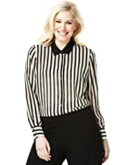 Plus Classic Collar Striped Blouse