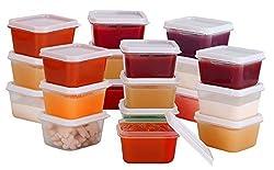 Greenco Mini Food Storage Containers, Condiment, and Sauce Containers, Baby Food Storage and Lunch Boxes, Leak-resistant, 2.3 oz Each 20 count
