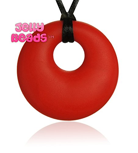 Jelly Beads Ares Silicone Teething Necklace - Teether Ring Donut Pendant for Mom (Red)