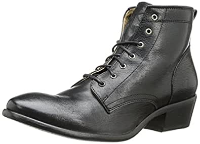 FRYE Women's Carson Lace-Up Boot, Black Washed Antique Pull-Up, 5.5 M US