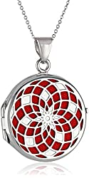 Sterling Silver Italian Round Freeform Design Locket Necklace, 18""