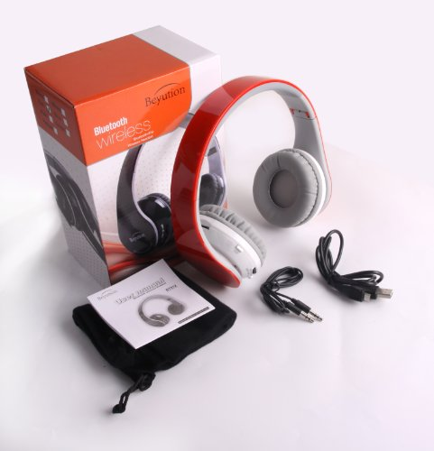 New Beyution512 Red Color Bluetooth V3.0 Headphones With Fm Radio/ Micro Sd Card Read/ Blutooth Headphones For Apple Iphone 5S/5/5C/4S; Ipad 2/1/Mini/Air; Ipod, Samsung S5/S4/S3/S2 Note2/ Note 3 Smart Cell Phones And Samsung Galaxy Tab Note Tablet And All