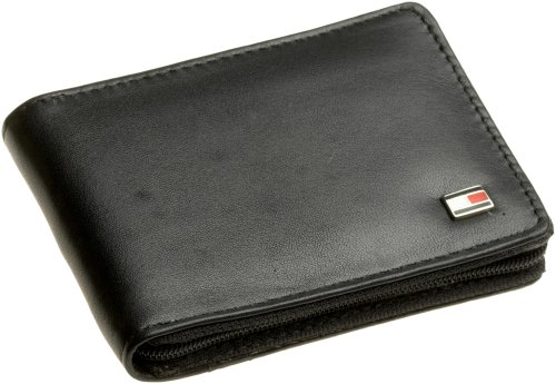 Tommy Men's Oxford Zip Around Wallet,Black,One Size