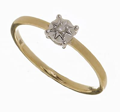 Ariel Ladies 9ct Yellow Gold Illusion Set Diamond Solitare Ring