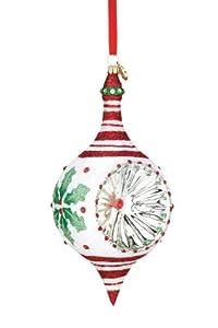 #!Cheap Reed & Barton European Glass Blown Holly Reflector Ornament, Height 6.5