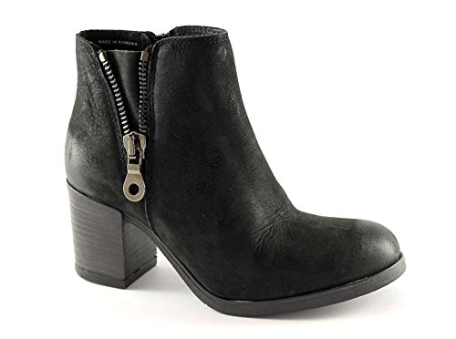 GRUNLAND GIò FASE PO0718 nero scarpe stivaletti donna tronchetti zip laterale tacco blocchetto