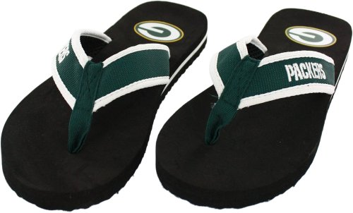 Green Bay Packers Men's Contour Flip Flop Sandals, Medium (8-9)