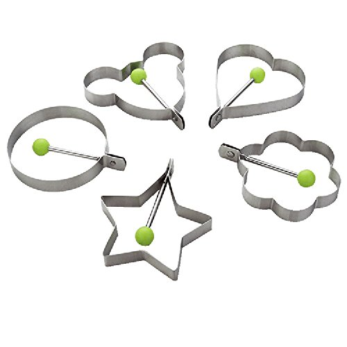 Guardians Premium Stainless Steel Fried Egg Molds Kitchen Cooking Tools for Kids and Lovers,Set of 5 Egg Rings Green (Fry Pams compare prices)