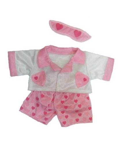 """Love Heart"" Pj's Teddy Bear Clothes Outfit Fits Most 14"" - 18"" Build-A-Bear, Vermont Teddy Bears, And Make Your On Stuffed Animals"