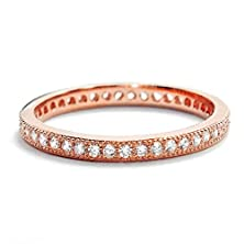 buy Cubic Zirconia 2Mm Rose Gold Over 925 Sterling Silver Band Ring (5)