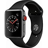 Apple Watch Series 3 (GPS + Cellular), 42mm Space Gray Aluminum Case with Black Sport Band - Grey (Color: Space Gray Aluminum case with Black Sport Band, Tamaño: 42 mm)