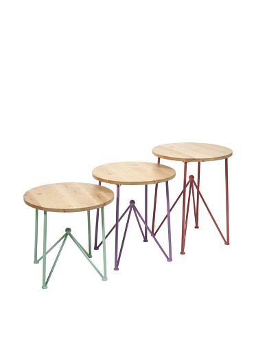 Set of 3 Assorted Alice Metal & Wood Accent Tables