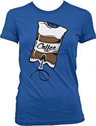 Coffee IV, Intravenous Coffee Drip Ladies Junior Fit T-shirt (Royal, S)