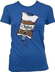 Coffee IV, Intravenous Coffee Drip Ladies Junior Fit T-shirt (Royal, S)