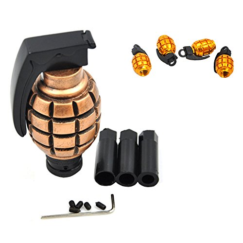Eternalpower Stylish Car Bronze Tone Grenade Shape Style Gear Shift Knob Originality Resin Material Bottom Mount Classical With 4 Cool Grenade Shape Vlave caps (Automatic Shift Knob Gold compare prices)
