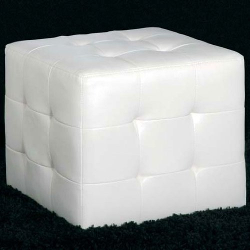CUBE White Faux Leather Pouffe Footstool Stool Chair