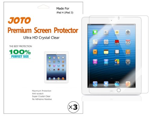 JOTO Premium Screen Protector Film Ultra Clear (Invisible) for Apple New iPad 4 / iPad 3 / iPad 2 (the New iPad, iPad 4th generation, iPad 3rd generation), with Lifetime Replacement Warranty (3 Pack) - 1