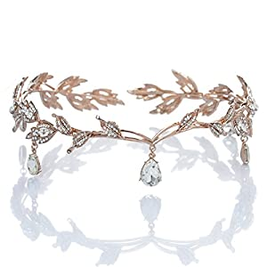 Remedios Elegant Rhinestone Leaf Wedding Headpieces Headband Bridal Tiara Crown, Rose Gold
