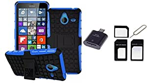 Micomy Kick stand Shock Proof Case for Microsoft Lumia 640 XL Blue with 1 OTG Card Reader, 1Sim Adapter Combo