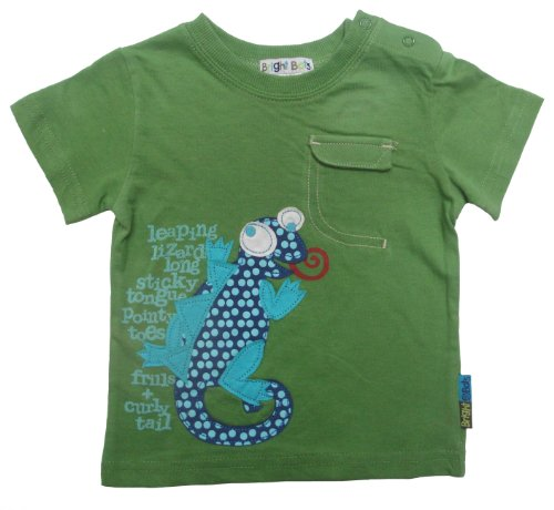 Bright Bots Baby Boy Bright Green Applique Tee Shirt / Top size 12/18 months