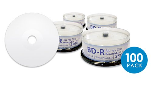 DIGISTOR 25GB 6X Blu-ray Recordable BD-R Blank Media, White Inkjet Printable Surface (100 pack)
