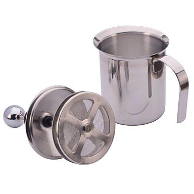 NEJE Stainless Steel Pump Double Mesh Milk Frother Coffee Creamer