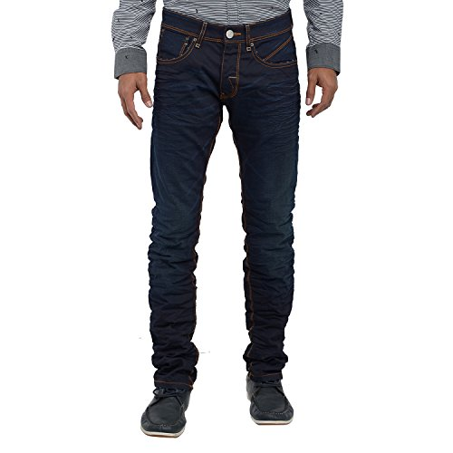 Poe Poe Men's Casual Slim Fit Denim Jeans ( Blue )