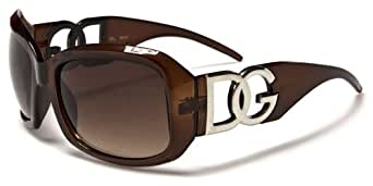 DG Eyewear Ladies High Fashion Hip Oversized Color Sunglasses - Gafas De Sol - Several Colors Avaialble (Brown)