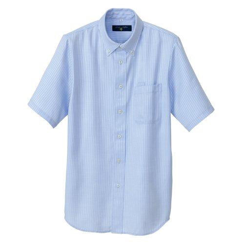 AITOZ | 半袖ボタンダウンシャツ(ヘリンボーン)【吸水性防汚加工】 #AZ-50404 サックス 5L