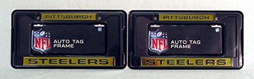Pittsburgh Steelers NFL Black Metal (2) Laser License Plate Frame Set at Steeler Mania