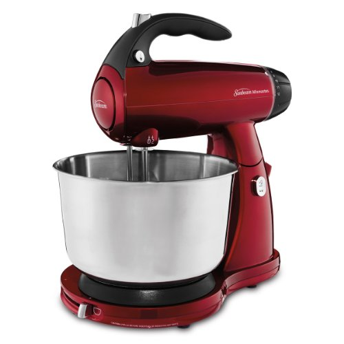 Sunbeam Fpsbsm2596R Mixmaster 350-Watt 12-Speed Stand Mixer With Stainless Steel Bowl, Dough Hooks And Whisk, Red