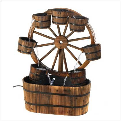 Country Old Fashioned Wagon Wheel Garden Water Fountain (Water Fountain Wheel compare prices)