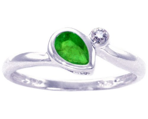 14K White Gold Simply Pear Gemstone and Diamond Promise Ring-Emerald, size5