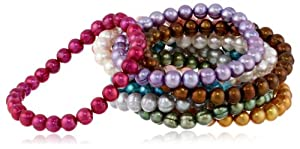 """Honora Set of 10 Multi-color Freshwater Cultured Pearl Stretch Bracelets, 7.5"""""""
