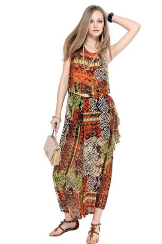 Oasap Multicolor Bowknot Embellished Sleeveless Chiffon Jumpsuits,Multicolor,S