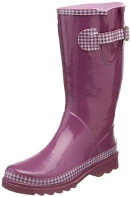 Western Chief Women's Solid Gingham Rain Boot,Purple,8 M US